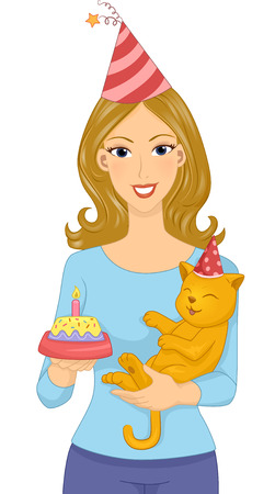 adult birthday party: Illustration of a Woman Holding a Cat Celebrating its Birthday Illustration