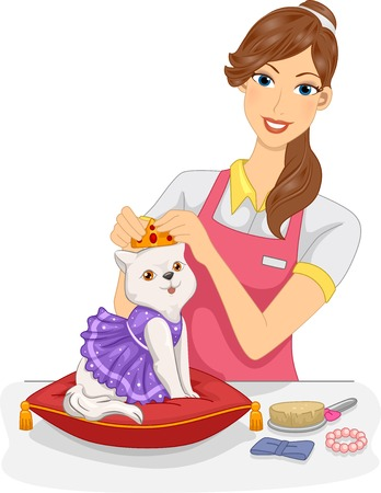 Illustration of a Woman Dressing Up a Cat