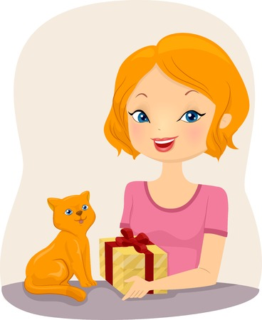 handing: Illustration of a Girl Handing a Gift to a Cat