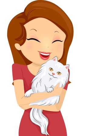 Illustration of a Woman Happily Hugging a Cat