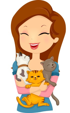 Illustration of a Woman Happily Hugging Cats