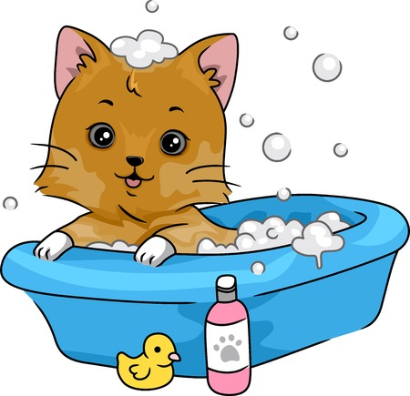 bath time: Illustration Featuring a Cute Little Cat Taking a Bath Illustration