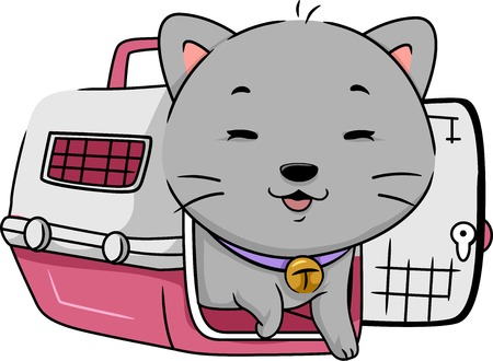 cat carrier: Illustration Featuring a Cat Happily Stepping Out of a Cat Carrier