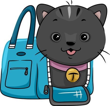 cat carrier: Illustration Featuring a Cat Peeking From a Cat Carrier