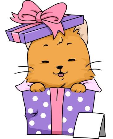 formalwear: Ilustraci�n con un gato envuelto como un regalo Vectores