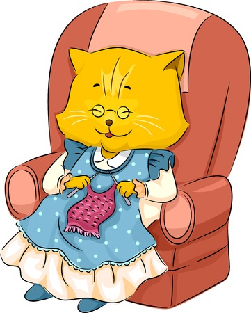 Illustration Featuring a Granny Cat Knitting Vector