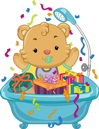 Illustration Featuring a Baby Bear Sitting in a Tub Full of Gifts Illustration