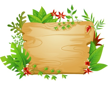 Border Illustration Featuring a Blank Board Surrounded by Jungle Plants Vector