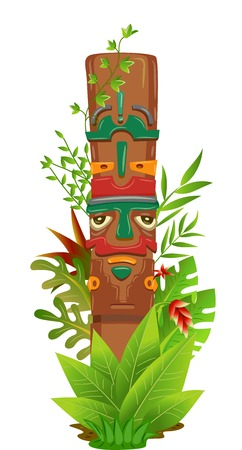 Illustration Featuring a Totem Pole Surrounded by Jungle Plants