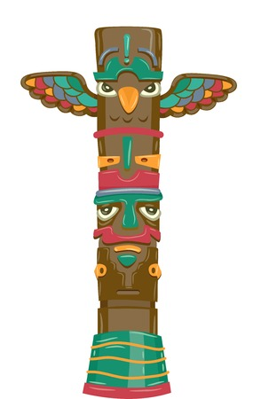Illustration Featuring a Totem Carved with Images of a Bird and a Man