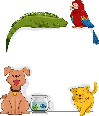 surrounding: Illustration Featuring Pets Surrounding a Blank Board
