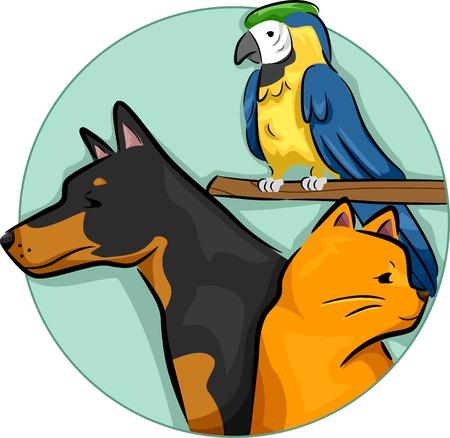 pet shop: Illustration of Design Elements Featuring Different Pets