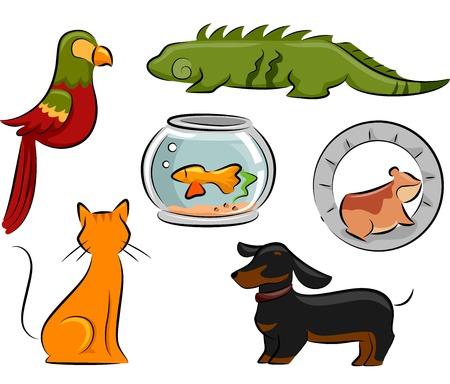 Ontwerp Illustratie Met Verschillende Huisdieren