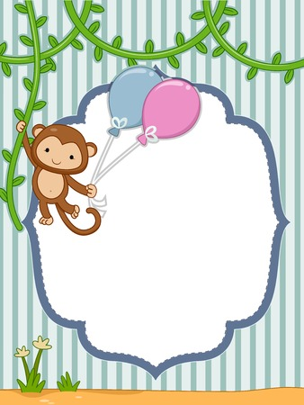 Frame Illustration Featuring a Monkey Hanging to a Vine Vector