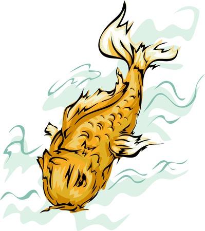 Illustration, die eine Goldene Koi Fisch Standard-Bild - 31449255