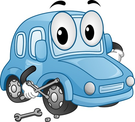 lug: Mascot Illustration Featuring a Car Holding a Wrench