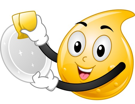 wash dishes: Mascot Ilustración con una gota de líquido para lavar platos Vectores