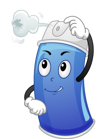 Mascot Illustration Featuring a Canister of Insecticide Spray spraying an Insect Ilustrace
