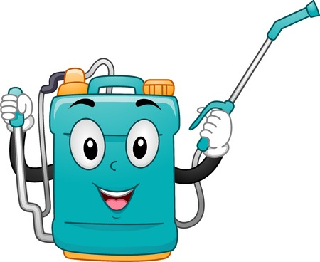 sprayer: Mascot Illustration of a Knap Sack Sprayer
