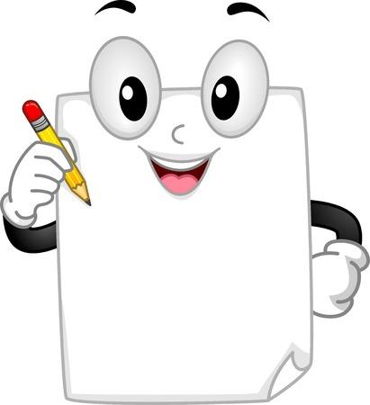 Mascot Ilustración con un pedazo de papel con un lápiz