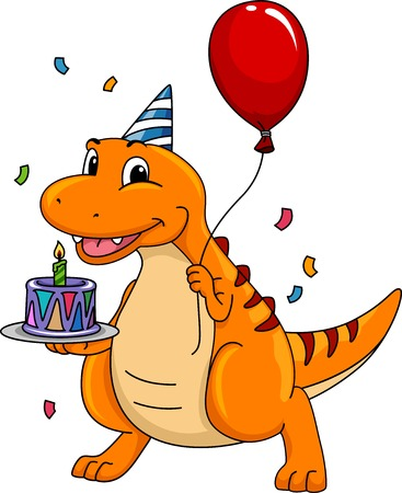 Mascot Illustration Featuring a Dinosaur Carrying a Birthday Cake Illustration