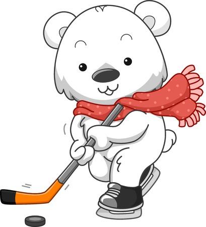 polar bear on the ice: Polar Bear Ice HockeyIllustration Featuring a Polar Bear Playing Ice Hockey