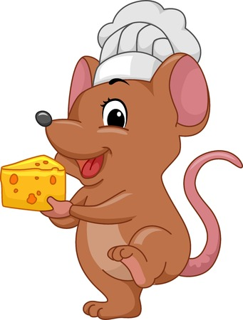 Illustration of a Mouse Wearing a Toque Carrying a Slice of Cheese Vector