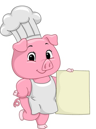 toque: Illustration of a Pig Dressed as a Chef Holding a Piece of Blank Board
