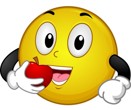 bite apple: Illustration of a Smiley Eating an Apple Illustration