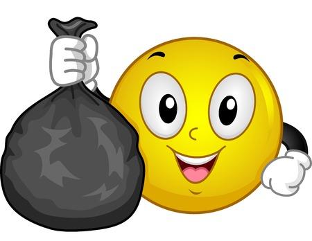 Ilustración de un sonriente la celebración de una Thrash bolsa llena de basura