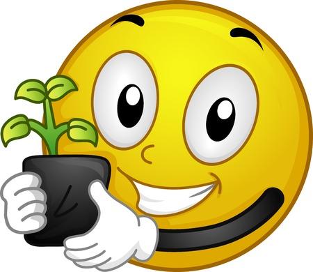 Illustratie van een Smiley houden van een zaailing