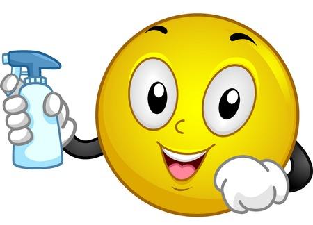 Illustration of a Smiley Holding a Spray Bottle