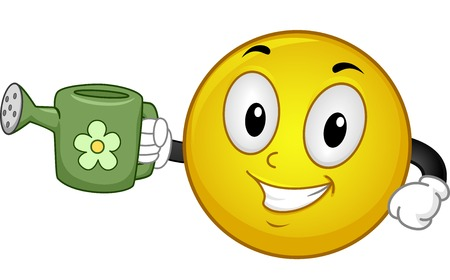 sprinklers: Illustration of a Smiley Holding a Watering Can