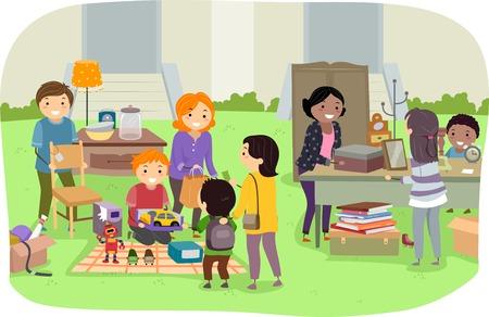 Ilustração com famílias segurando uma venda de jardim
