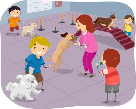 agility dog: Illustration Featuring a Group of Children Training Their Dogs to Perform Agiliy Tests Illustration
