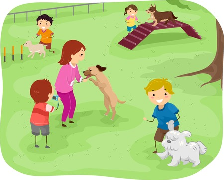 agility people: Illustration Featuring a Group of Children Training Their Dogs to Perform Agility Tests
