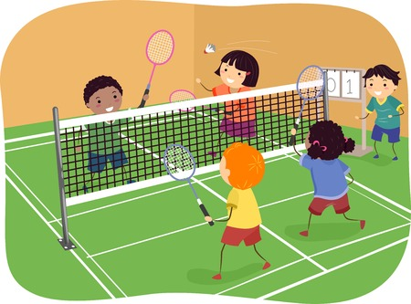 Illustration Featuring Kids Playing Badminton Doubles 일러스트