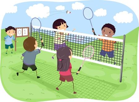 Illustratie Met een groep van de kinderen spelen Badminton Doubles in een Park Stock Illustratie
