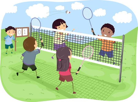 badminton: Illustration Featuring a Group of Kids Playing Badminton Doubles in a Park