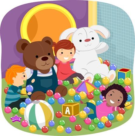 図は屋内の遊び場で遊んでいる子供の特徴  イラスト・ベクター素材