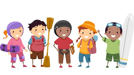 rapelling: Illustration of Kids Wearing Different Sports Gear