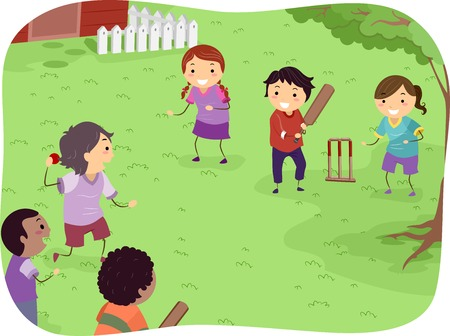 cricket ball: Illustration Featuring Kids Playing Cricket Illustration