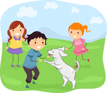 pooch: Illustration Featuring Kids Playing with Their Dog Illustration