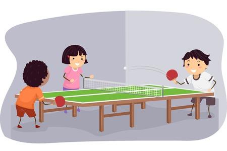 ping pong: Ilustración con niños jugando tenis de mesa