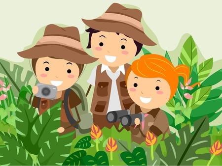 selva: Ilustraci�n con ni�os en un Safari Adventure Vectores