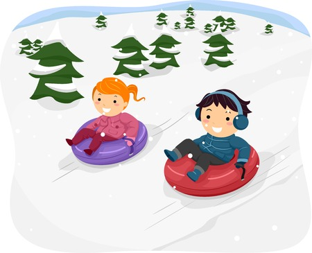 snow sled: Illustration Featuring Kids Riding Snow Tubes