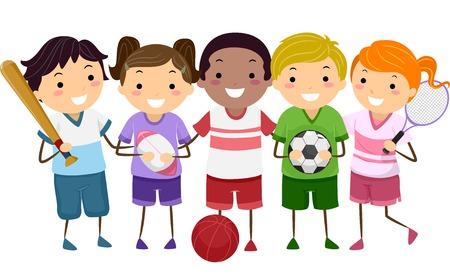 educacion fisica: Ilustración con Niños tomados de diferentes deportes de engranajes Vectores