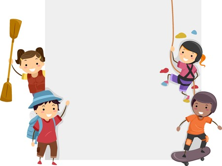 rower: Board Illustration Featuring Kids Dressed in Different Sports Attires