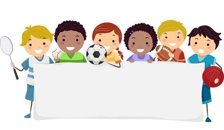 deportista: Ilustración Banner Con niños visten atuendos diferentes deportes