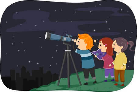 Illustration Featuring Kids Stargazing Иллюстрация